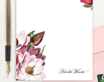 personalized notePAD - MAGNOLIA BLOSSOMS - letter writing paper - flower stationery - custom - floral stationary