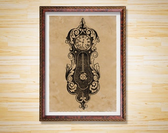 Vintage decor Steampunk poster Clock print