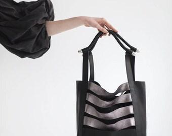 Leather Bag- Ever day Shopping Bag - Black Silver bag- Handmade - Large Leather Bag - Shoulder Bag - Tote Bag - Braided Handles