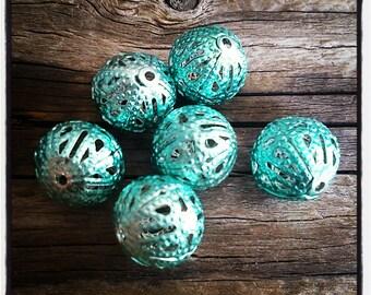 set of 6 metal filigree Blue 12 mm beads