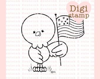 Patriotic Eagle Digital Stamp - Eagle Digital Stamp - Digital Patriotic Stamp - Eagle Art - 4th of July Card Supply