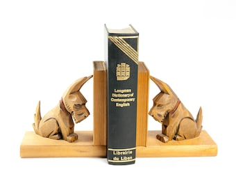 Dog bookends, wood bookends, mid century bookends, kids bookends, nursery bookends, unique bookends, decorative bookends, children bookends