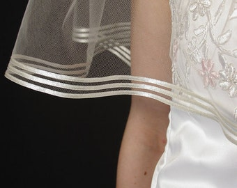 Soft and Sheer wedding veil. Satin ribbon bridal veil. Made in USA