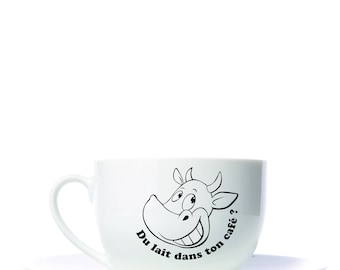 Sticker for Cup. Café au lait. cow. milk in your coffee?