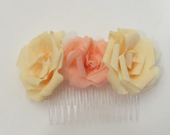 Flower hair comb, rose hair accessory, floral hair accessories, bridal hair comb, flower girl headpiece, paper flowers, floral hair comb