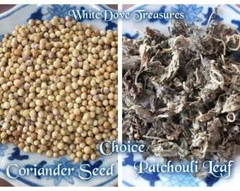 PATCHOULI Leaf ~ CORIANDER Seed 1oz ORGANIC Dry Herb ~ Whole or Powder