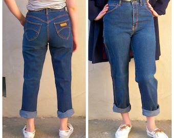 80s high waisted jeans / GITANOS designer jeans, mom jeans, tapered leg, dark denim / 28 waist, 28x28 LIKE NEW