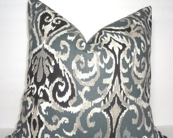 SIZZLING SUMMER SALE Charcoal Grey & Black Ikat Print Pillow Cover Decorative Ikat Design Pillow Cover Choose Size