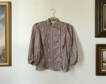 Vintage 70s Mandarin Collar Blouse