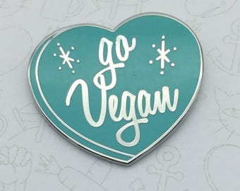 Go Vegan Pin - Aqua Blue