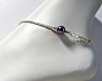 Bracelet de cheville perle, violet Perle Bracelet de cheville, bijoux de pied, taille 9 1/2 pouce, bracelet de cheville en perles, bracelet de cheville minimaliste, fermoir mousqueton, réglable, bijoux de corps