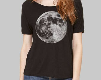 Dolman Top, Moon, Moon Shirt - slouchy tee, scoop neck tee, slouchy shirt, dolman sleeve top, womens tops, tshirt, scoop neck