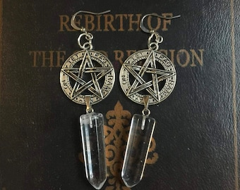 Pentagram Healing Crystal Necklace,quartz crystal, quartz crystal necklace, quartz crystal pendant, healing crystals and stones, protection