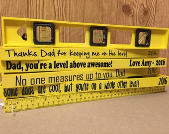 Custom Personalized Level - Father's Day - Grandparents gifts -  Measurement  with Bubble Leveler - Useable Tool - Ruler