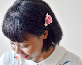 Pink and gold glitter flower hair clip, made with 100% wool felt flower | hair accessories for weddings and parties