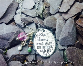 Hand Stamped 'She Bloomed' Becca Lee Poetry Necklace, Quote Jewelry, Poetry, Darkness, Handmade, Stamped Metal Jewellery, Stamped Necklace.