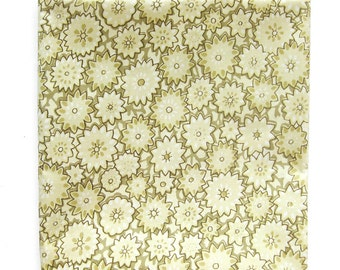 Vintage Cotton Fabric - Fifties Fabric - Mid-Century Print in Soft Cream and Olive / Leaves and Flowers / Glazed Cotton