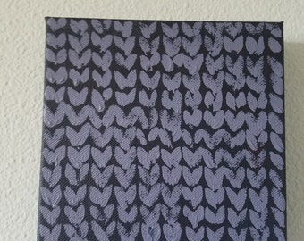 Dark purple stockinette painted canvas, painted yarn, wall art, knitting art, knitted painting, unique art, craft room art, gift for knitter
