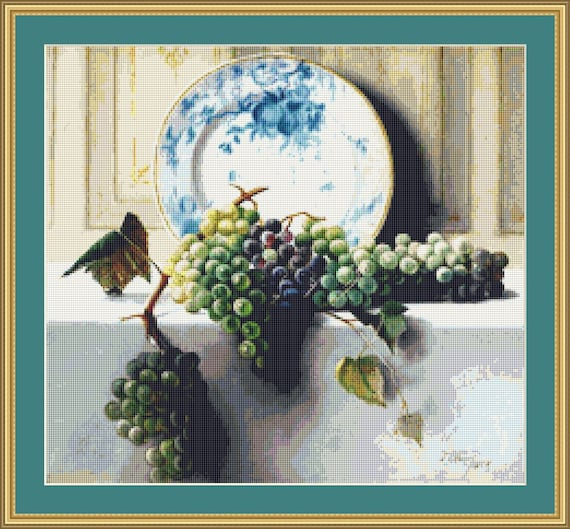 Still Life With Grapes Cross Stitch Pattern /Digital PDF Files /Instant downloadable