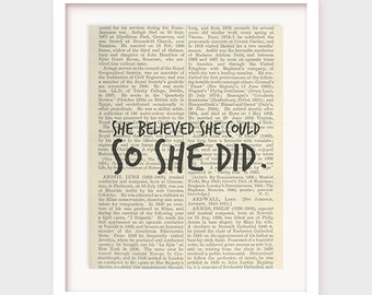 Quote Print, Printable art wall decor, inspirational quotes poster, She believed she could. So she did, Digital Printable Quote