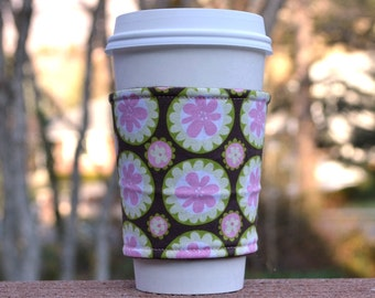 FREE SHIPPING UPGRADE with minimum -  Fabric coffee cozy / cup holder / coffee sleeve  / tea sleeve - Pretty Pink Flowers