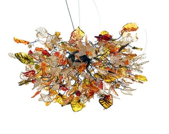 Chandelier with flowers and leaves at dark champagne color- hand made Chandelier for Dining Room , living room or bedroom