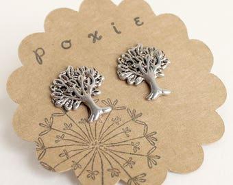 Silver Tree Earrings - Tree Post Earrings - Nature Earrings - Silver Nature Jewelry - Woodland Earrings - Woodland Jewelry - Nature Jewelry