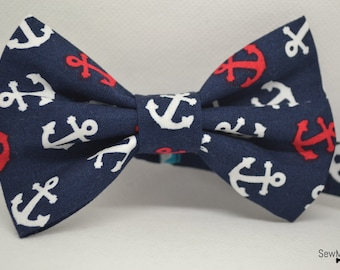 Nautical bow tie - Mens bow tie - Baby bow tie - Child bow tie - Gift for him - Gift ideas - Anchor
