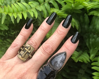 Black Obsidian Arrowhead Ring/ Black Tourmaline Crystal/ Statement Ring/ Boho Fashion/ Festival Ring/ Crystal Healing