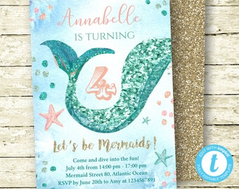 Mermaid Birthday Invitation, Instant Download, Glitter Mermaid, Girl Invitation, Mermaid Party, Digital Invitation, Templett, Coral Teal