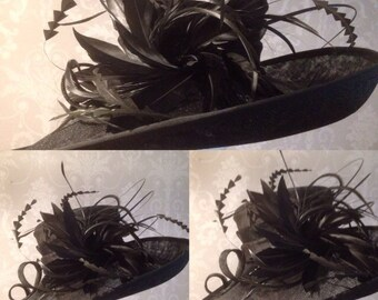Black Sinamay Hat, Wedding, Funeral, Races, Classic