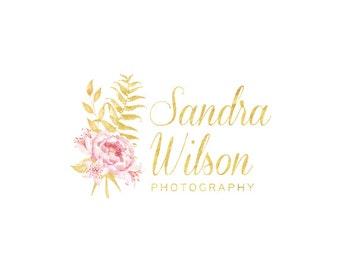 Gold logo flowers logo photography logo elegant logo floral logo premade logo