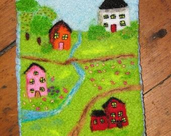 Folk village needle felt phone case