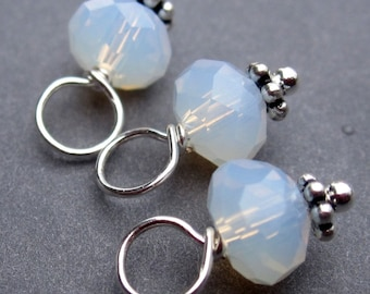 Opalite Crystal Dangle Charms, Stitch Markers, Necklace Pendants,  Wire Wrapped with Sterling Silver Daisy Spacers 6mm