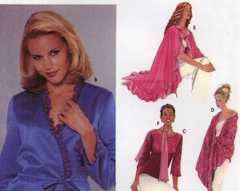 Lingerie Sewing pattern Slippers Jacket top shawl scarf eye mask lingerie set sewing pattern Simplicity 5748 Sz 4 to 10 Uncut