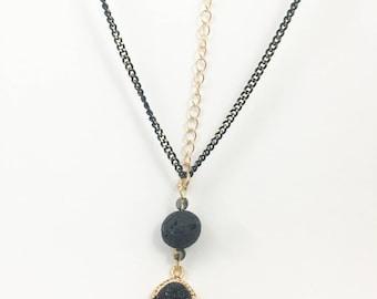 Essential Oil Necklace w/ Lava Rock w/ Essential Oil - Medium Length - Black Druzy Pendant
