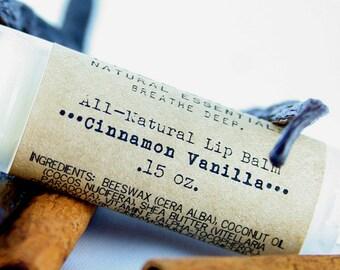 Cinnamon Vanilla Shea Butter Lip Balm / Organic Lip Balm / Natural Skin Care / Natural Lip Balm / Handmade Lip Balm / Essential Oils