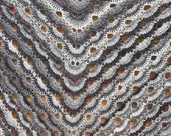 Spring Summer Scarf, Lightweight Scarf Shawl, Crochet Black Grey Shawl, Festival Scarf, Crocheted Triangle Scarf, Womens Grey Black Scarf