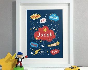 Comic Book Art Decor, Personalised Print, Kids Room Decor, Nursery Wall Art, Nursery Decor, Name Sign Print (Unframed)