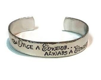 Once a Cowboy Always a Cowboy - OSU Cowboys Bracelet - College Football - College Jewelry - Oklahoma State Jewelry - OSU University Bracelet