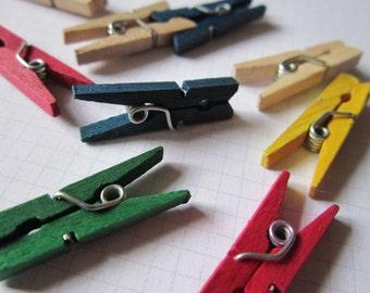 18 Tini Clothe Pins Multicolored