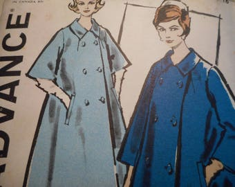 Vintage 1950's, 60's Advance 9935 Coat Sewing Pattern Size 16 Bust 36