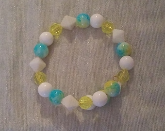 Yellow and Blue Tie Dye Beaded Wraparound Bracelet, with solid White Beads and see through Yellow Beads