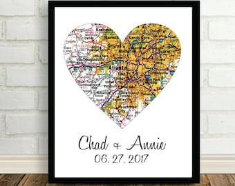Atlanta Heart Map Poster Print Wedding Present Any City Available Worldwide Newly Engaged Gift Wedding Gift Holiday Gift Christmas Gift