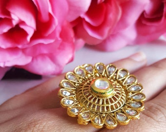 Adjustable Round Gold Ring with Teardrop LCT Stone Border - Bridesmaids Gift, Wedding Jewelry, Indian Jewellery, Indian Bridal Jewelry Ring