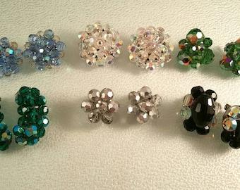 Lot of 6 Pair Cluster Bead Earrings in Green Blue Clear Silver Black Wear Upcycle Repurpose Destash