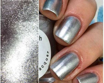 "Silver Metallic Aluminum Nail Polish - ""Mirror, Mirror"" - FREE U.S. SHIPPING - Hand Blended - 0.5 oz/15ml Full Sized Bottle"