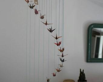 """70 's"" 23 origami mobile cranes"