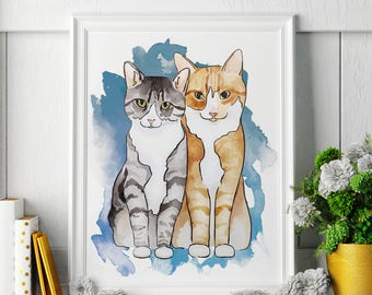 Tabby Cats - Watercolor Painting - Tabby Cat Art - Tabby Cat Painting - Tabby Cat Print - Tabby Cat Fine Art Print