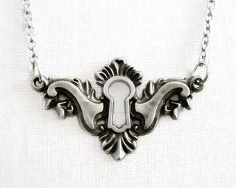 Allie - silver keyhole necklace - antique silver keyhole - steampunk necklace